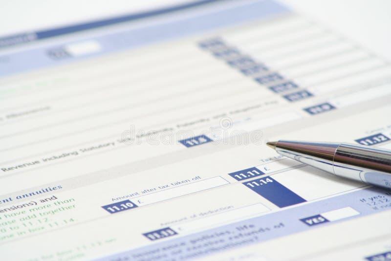 Declaración de impuestos imagen de archivo libre de regalías
