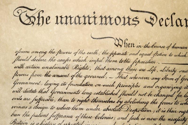 Declaración de Independencia cierre del 4 de julio de 1776 para arriba imagenes de archivo