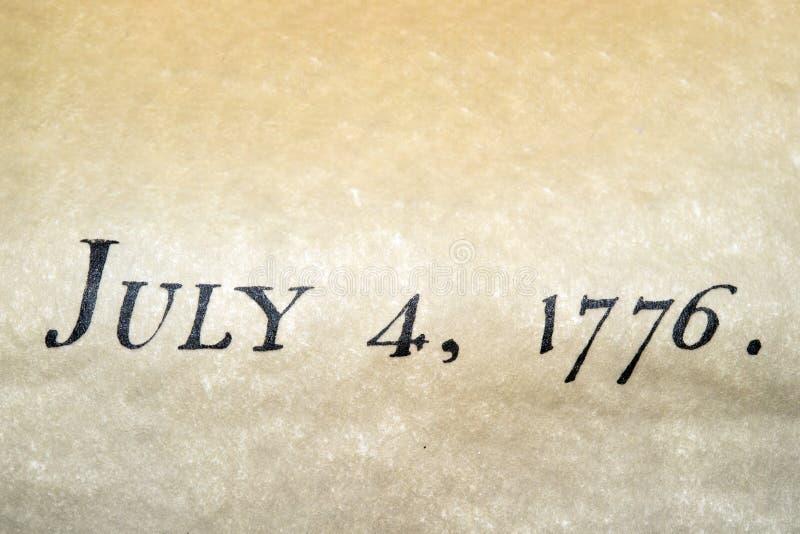 Declaración de Independencia cierre del 4 de julio de 1776 para arriba foto de archivo