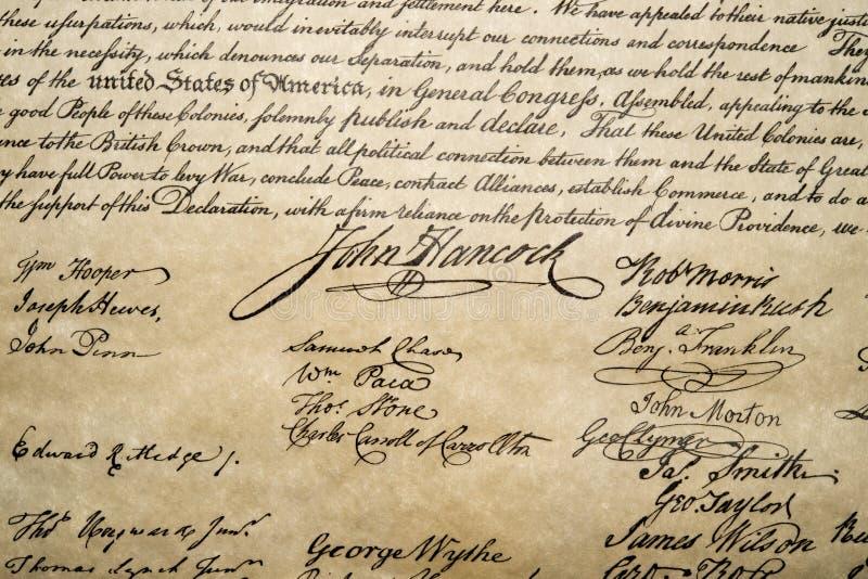 Declaración de Independencia cierre del 4 de julio de 1776 para arriba fotos de archivo