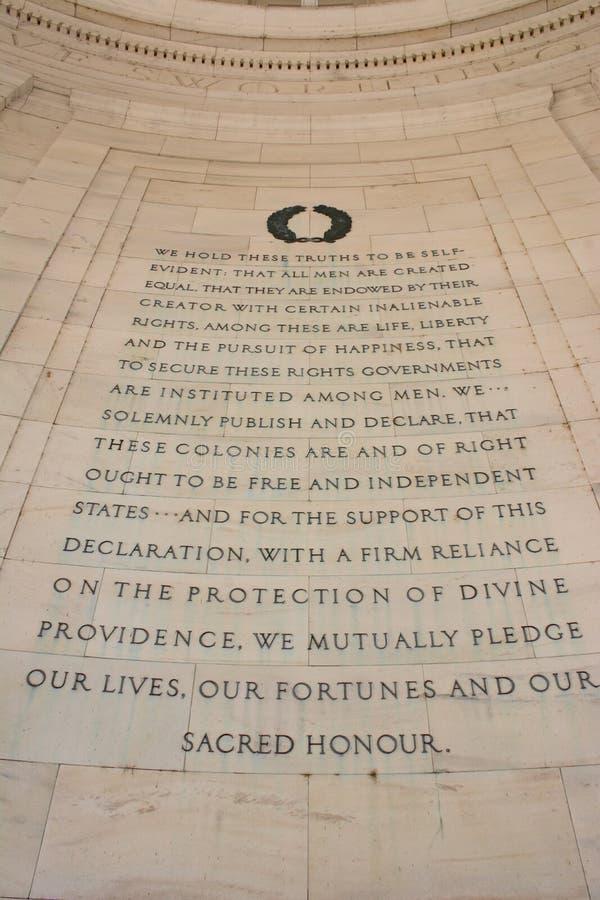 Declaración de Independencia en Thomas Jefferson Memoral foto de archivo libre de regalías