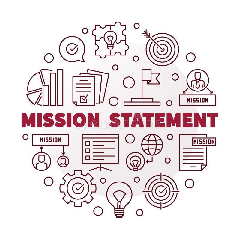 Declaración de misión del vector alrededor del ejemplo rojo del esquema stock de ilustración