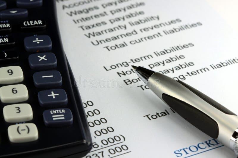 Declaración de renta de la contabilidad empresarial imagen de archivo