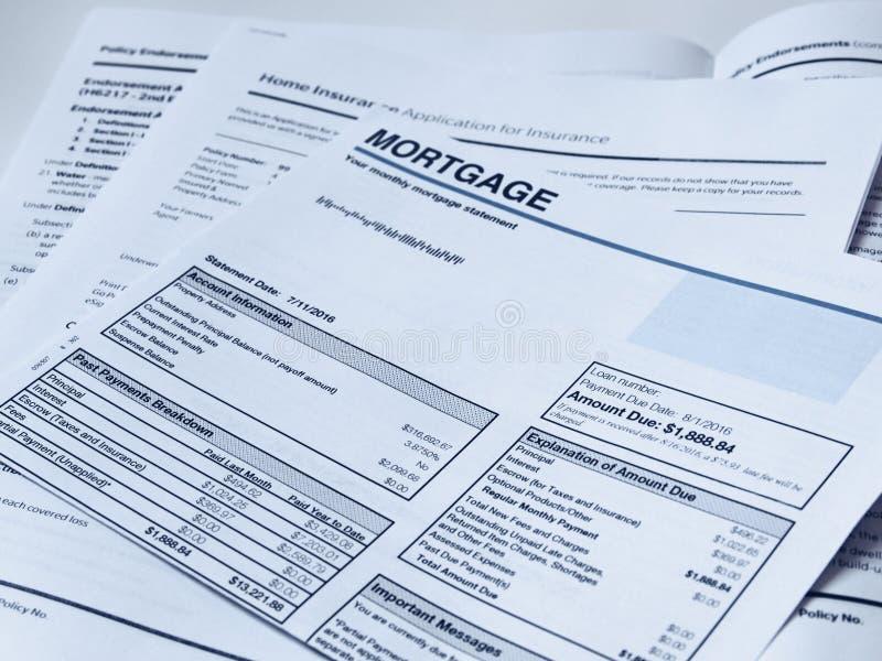 Declaración mensual de la hipoteca foto de archivo libre de regalías