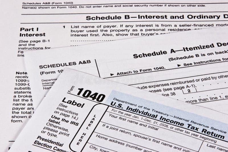 Declaración sobre la renta fotos de archivo libres de regalías