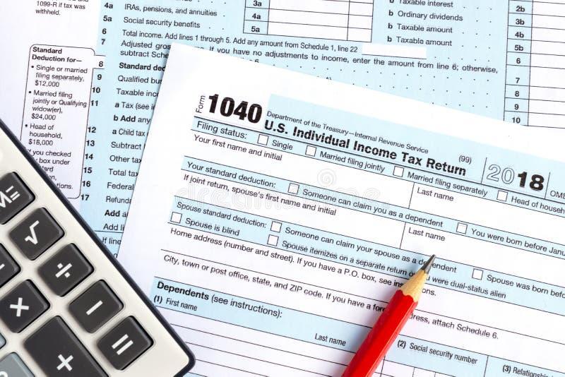 Declaración sobre la renta IRS 1040 foto de archivo libre de regalías