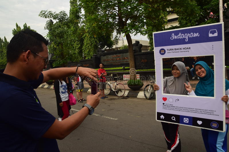 Declaration of Anti-Hoax. A number of citizens and communities signed and making selfies for anti news hoax Area CFD Jalan Pahlawan Semarang Sunday, January 7 royalty free stock photography