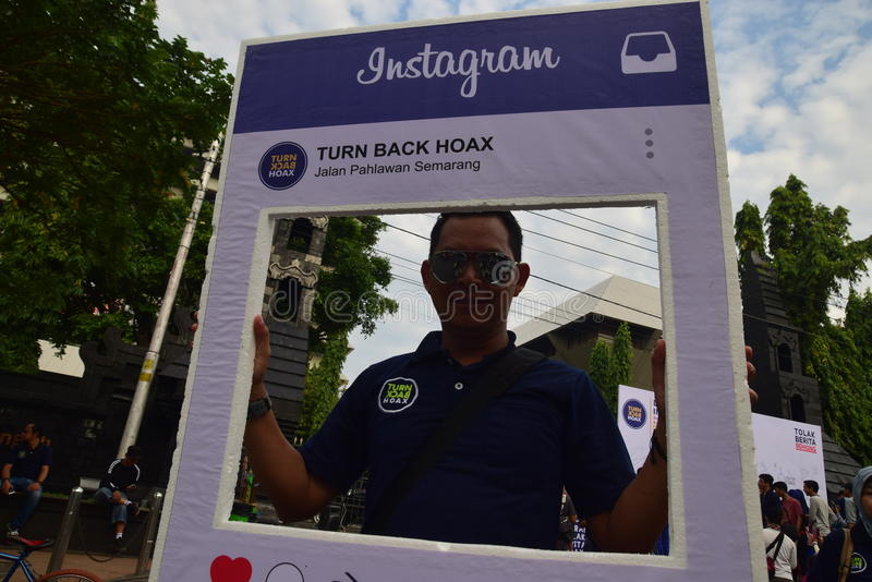Declaration of Anti-Hoax. A number of citizens and communities signed and making selfies for anti news hoax Area CFD Jalan Pahlawan Semarang Sunday, January 7 royalty free stock image