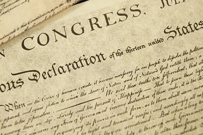 Declaration of Independence. Replica of the U.S. Declaration of Independence, closeup royalty free stock images