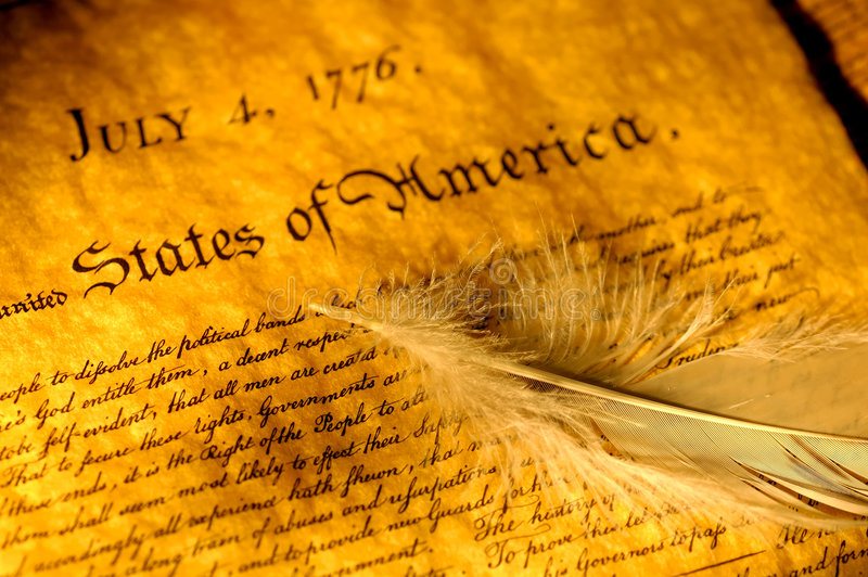 Declaration of Independence. And a Feather royalty free stock photo