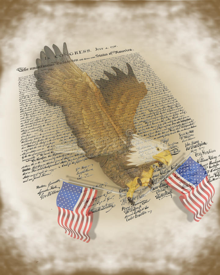Declaration of independence 4Th July Background. Image and illustration composition for 4Th of July, Independence day background with declaration, American bald stock illustration