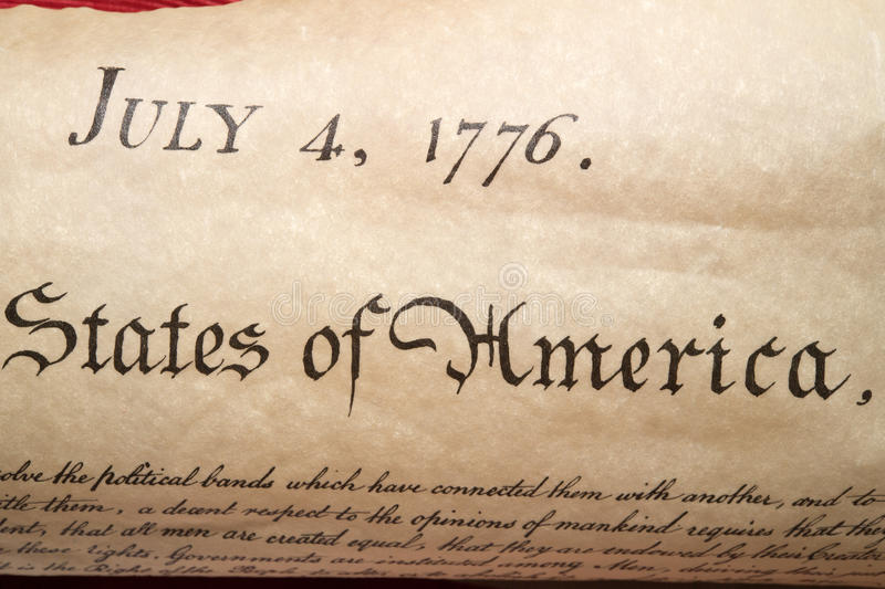 Declaration of independence 4th july 1776 close up. American Declaration of independence 4th july 1776 detail royalty free stock photos