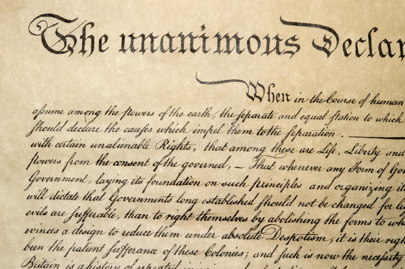 Declaration of independence 4th july 1776 close up stock images