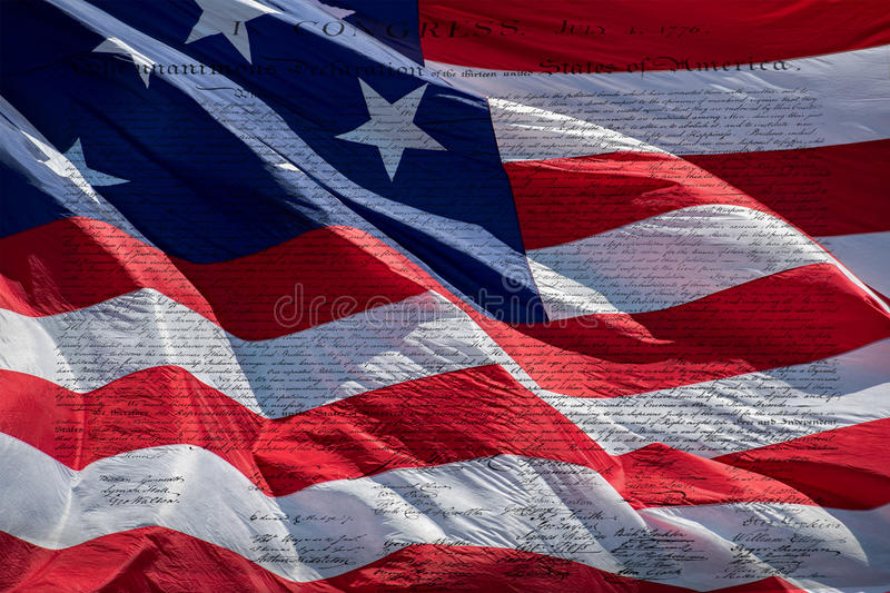 Declaration of independence 4th july 1776 on usa flag stock photos