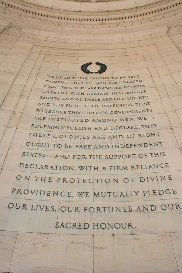Declaration of Independence at the Thomas Jefferson Memoral. The text from the Declaration of Independence as seen in the Thomas Jefferson Memorial in Washington royalty free stock photo