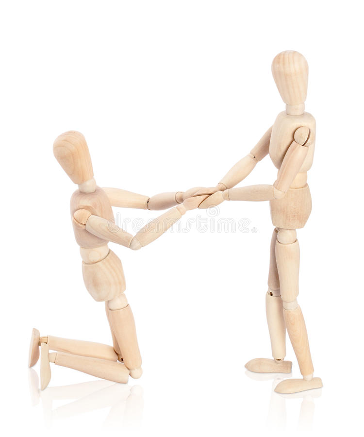 Declaration of love. Couple of puppet declaring love royalty free stock images