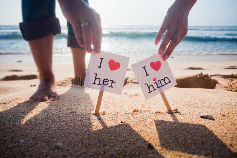 Declaration of love. Declaration love concept at the beach with blue sea background royalty free stock images
