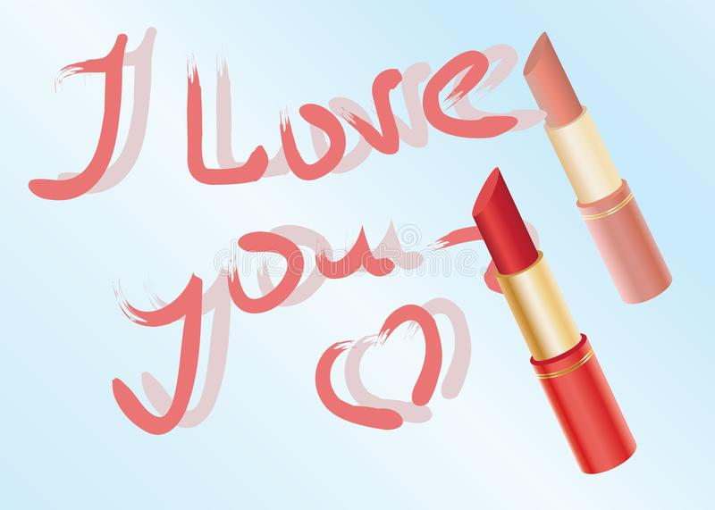 Declaration of love written by lipstick royalty free stock images