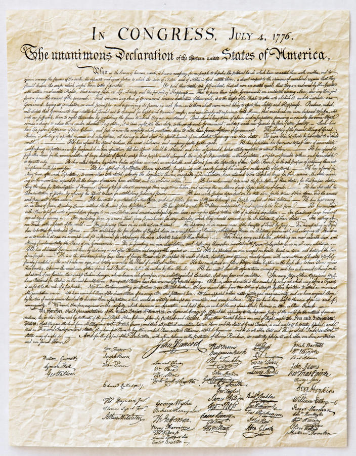 Free Declaration Of Independence Stock Image - 10084211