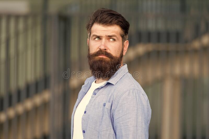 Declare your style. serious bearded man. handsome brutal man. Hair and beard care. Male barber care. brutal caucasian stock photography