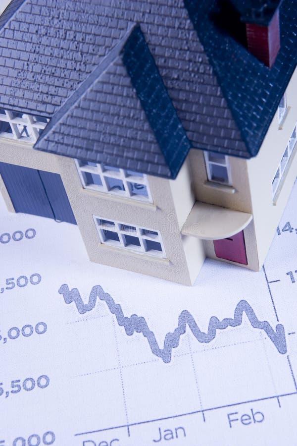 Declinación de la demostración del concepto en mercado inmobiliario imagenes de archivo