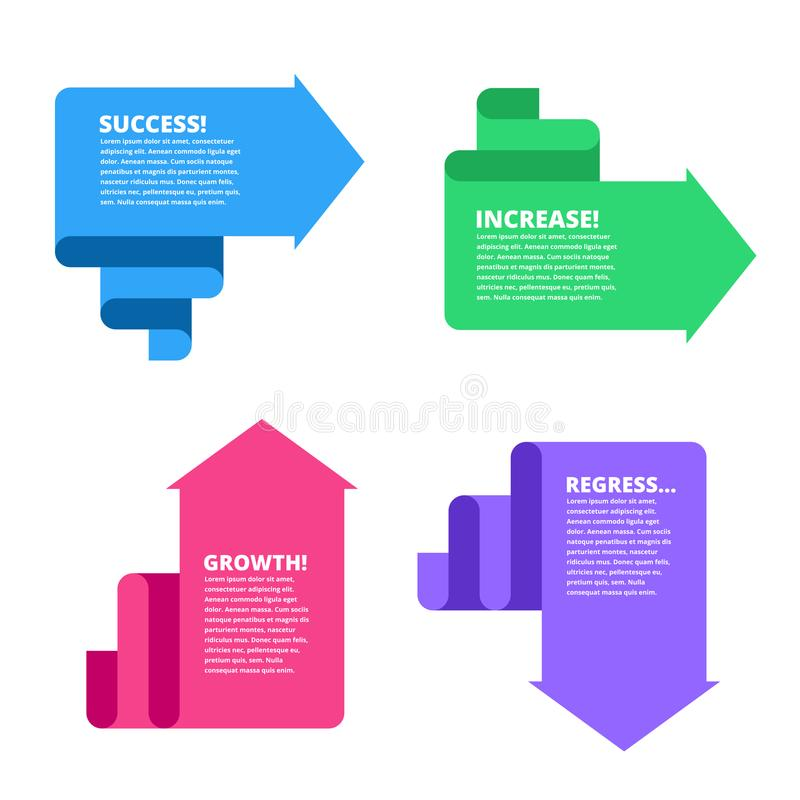 Recession, decline, growth, increase, success business arrows. F vector illustration