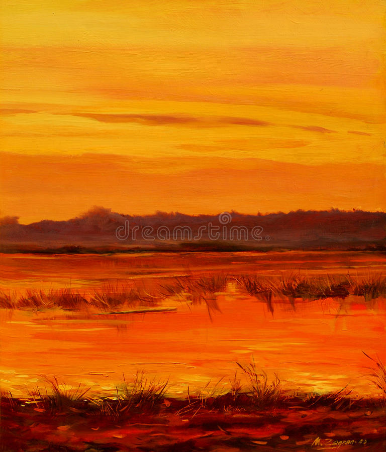 Free Decline On Lake, Painting By Oil On Canvas Royalty Free Stock Photos - 38641408
