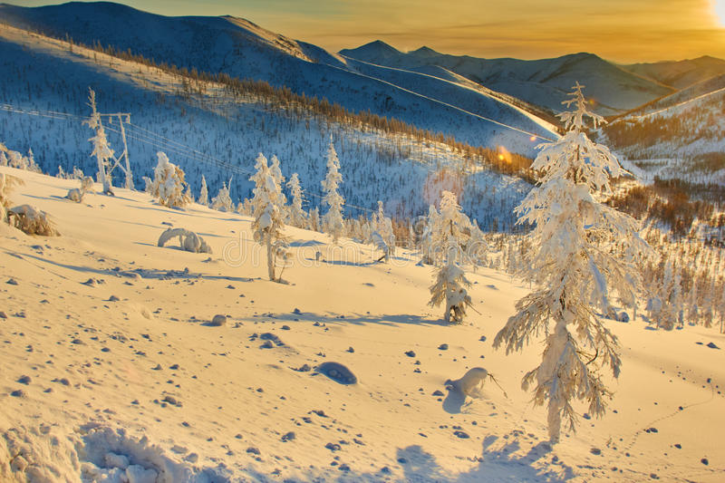 Download Decline On Pass. Winter. Evening. Kolyma Stock Photo - Image: 63316776