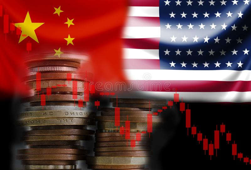 Decline of stock bar graph with USA and China flags. Its is symbol for economic tariffs trade war crisis between biggest economic. Country in the world stock photos