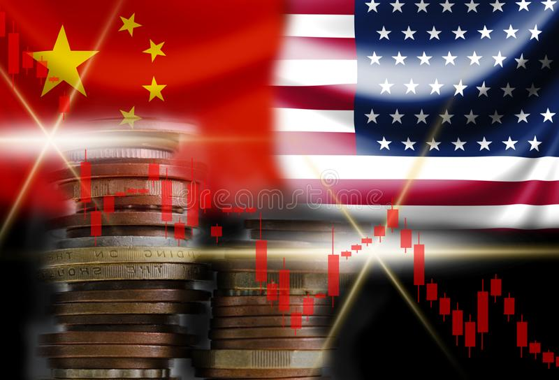 Decline of stock bar graph with USA and China flags. Its is symbol for economic tariffs trade war crisis between biggest economic. Country in the world royalty free stock photography