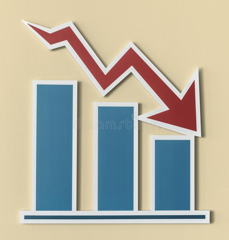 Declining business report bar chart stock illustration