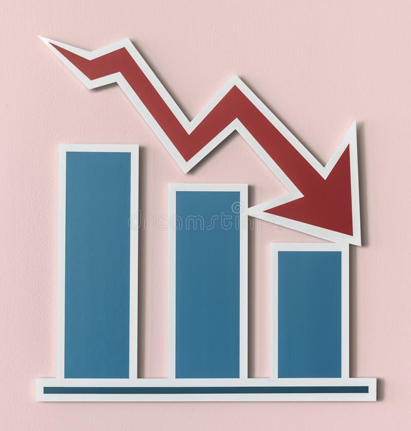 Declining business report bar chart royalty free illustration