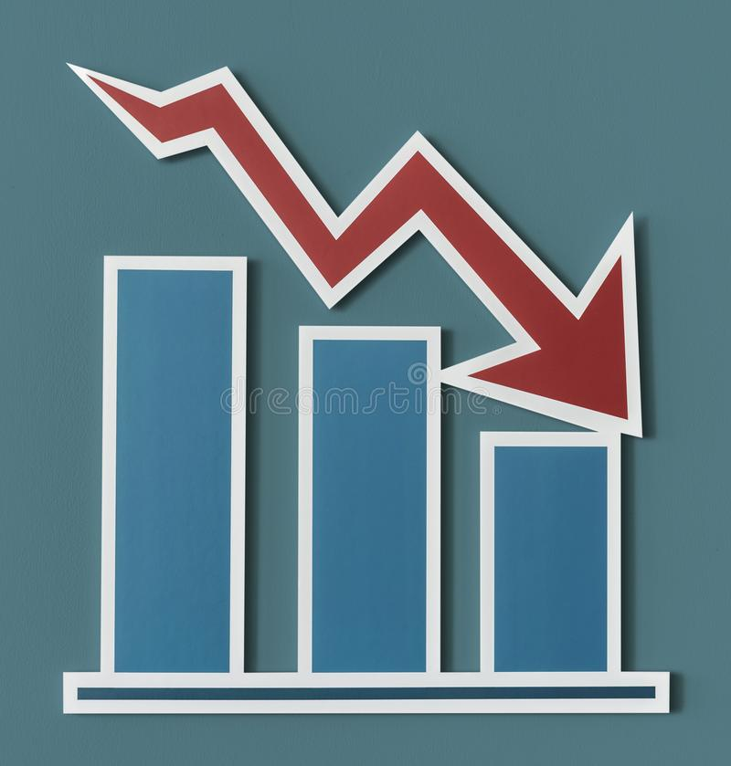 Declining business report bar chart vector illustration