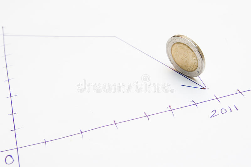 Download Declining graph and coin stock photo. Image of crisis - 17958046