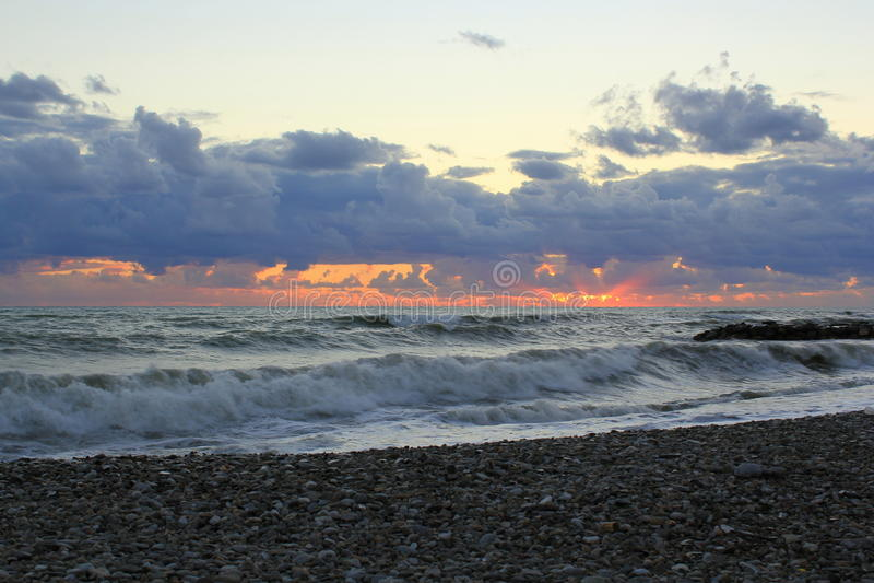 Declino del mare in Soci fotografia stock libera da diritti
