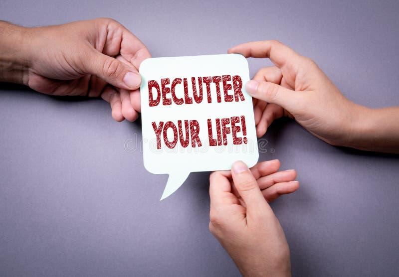 Declutter您的生活 泡影图象人员演讲联系的向量 库存图片
