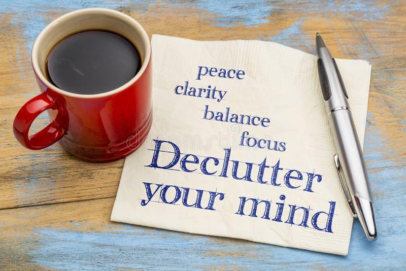 Declutter您的头脑忠告-餐巾手写 免版税库存图片
