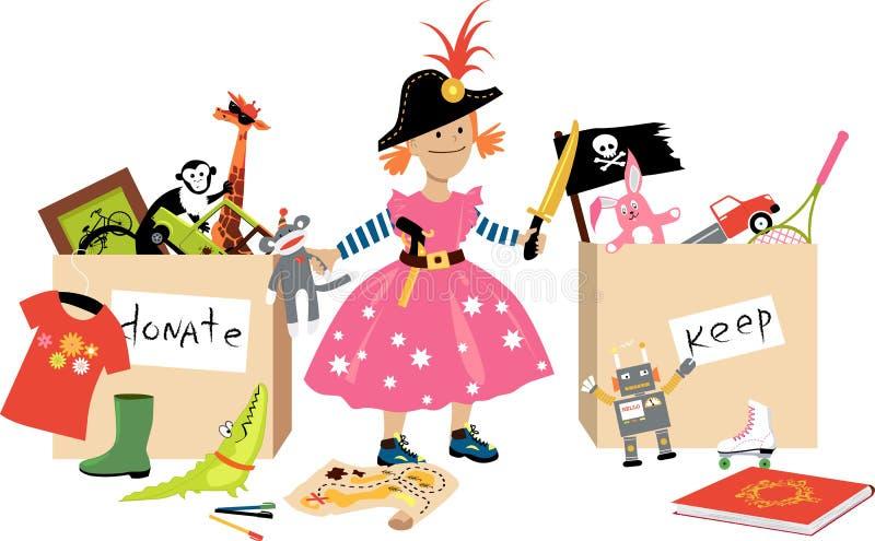 Declutter com crianças ilustração stock