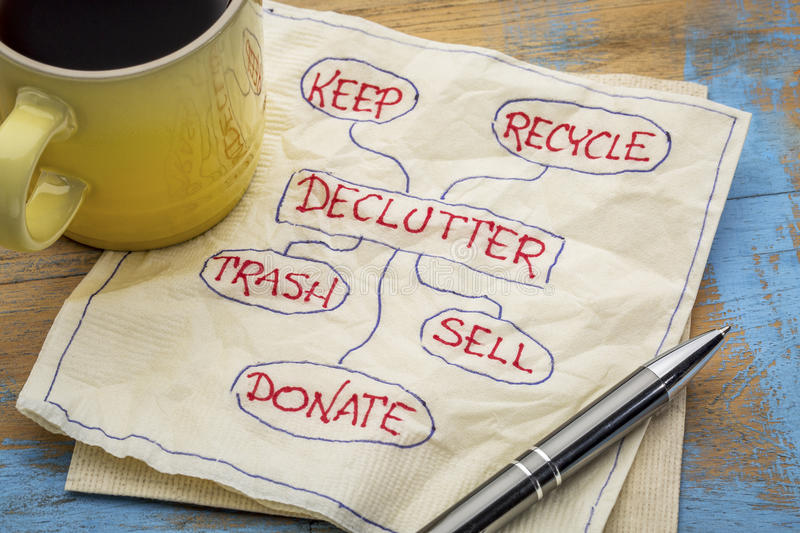 Declutter concept on napkin royalty free stock image