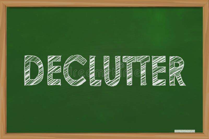 Declutter, Motywacyjny słowo wycen pojęcie royalty ilustracja