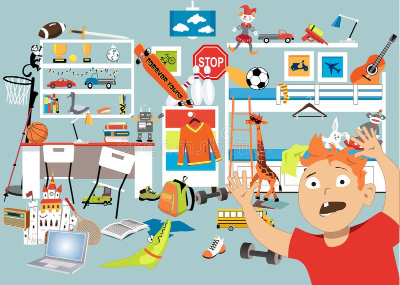 Decluttering ett barnrum stock illustrationer