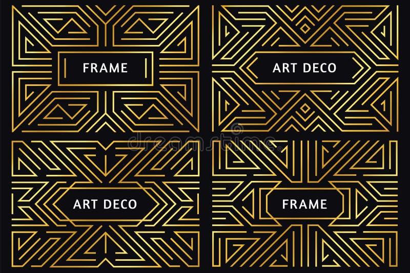 Πλαίσια deco τέχνης Εκλεκτής ποιότητας χρυσά σύνορα γραμμών, διακοσμητική χρυσή διακόσμηση και αφηρημένο γεωμετρικό διάνυσμα συνό ελεύθερη απεικόνιση δικαιώματος