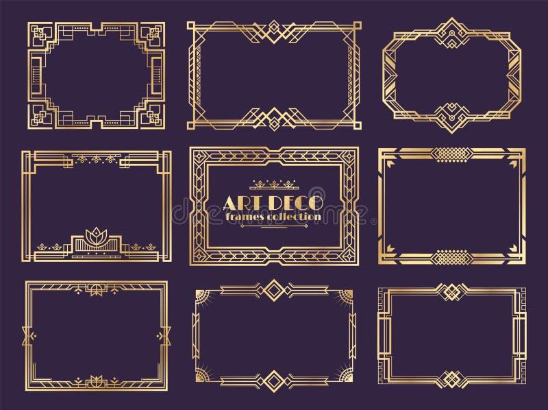 Границы стиля Арт Деко рамки 1920s золотые, элементы вычуры nouveau декоративные для винтажных плакатов Орнамент стиля Арт Деко в иллюстрация вектора