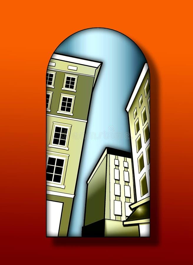 Deco buildings stock illustration
