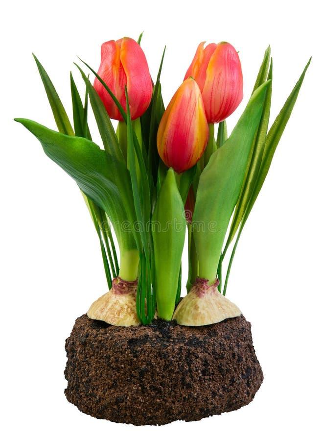 Deco de la primavera con los tulipanes artificiales aislados en blanco fotos de archivo libres de regalías
