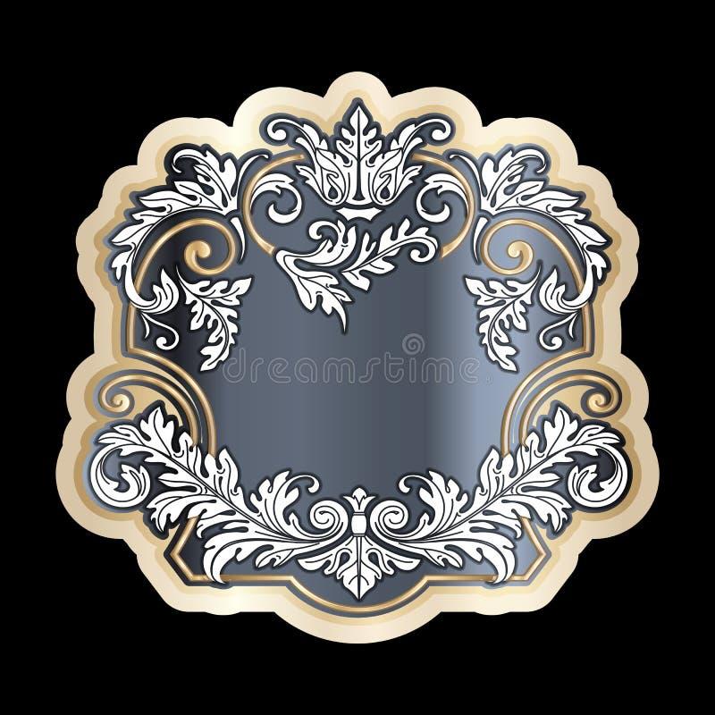 Deco floral richement décoré de rouleau de vintage de cadre baroque de conception illustration libre de droits
