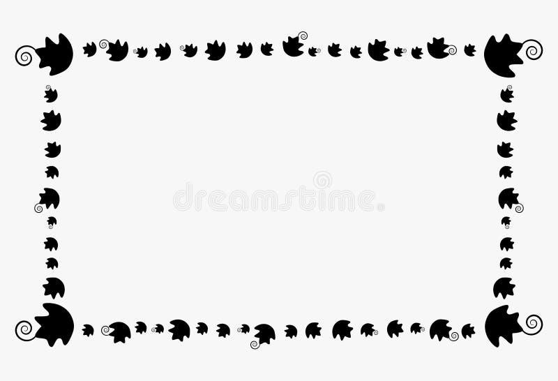 Deco heureux de modèle de feuille de potiron de rectangle de frontière de cadre de Halloween illustration libre de droits