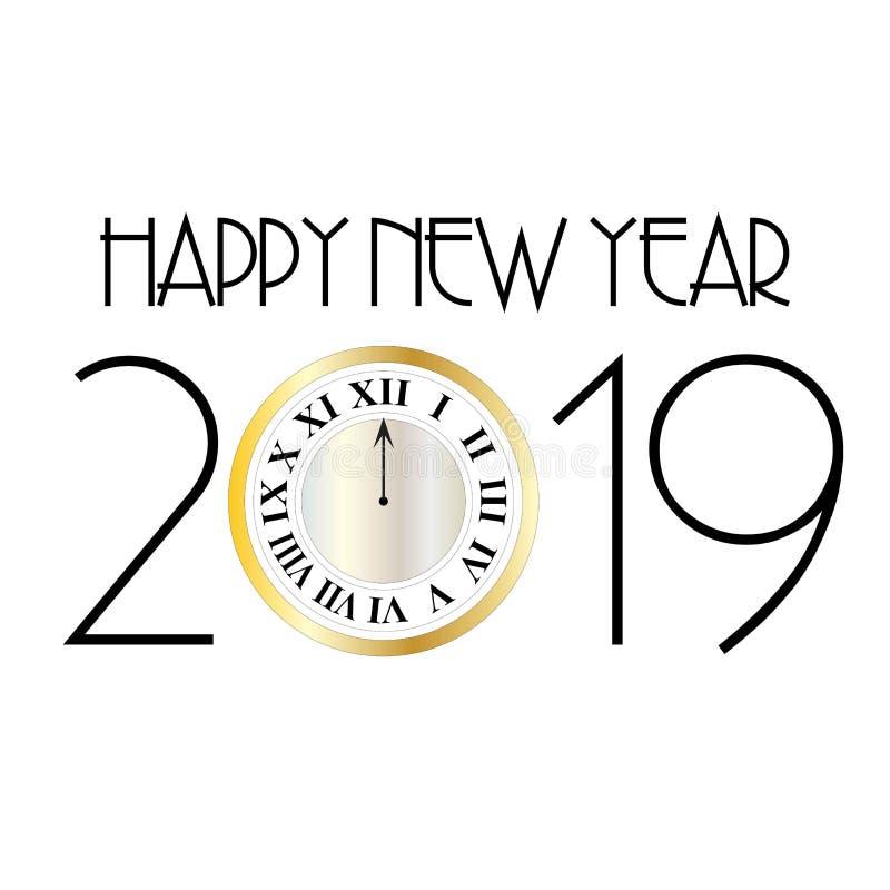 Deco lyckligt nytt år 2019 med den guld- klockan för silver på det vita diagrammet stock illustrationer