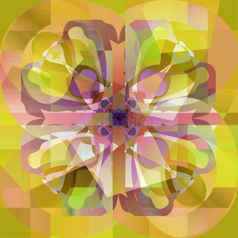 DECO MANDALA PASTELKLEURENpallet Abstracte gele en groene achtergrond stock illustratie