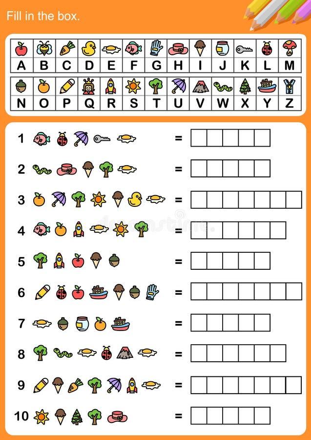 Decodeer alfabet, vul de doos in vector illustratie
